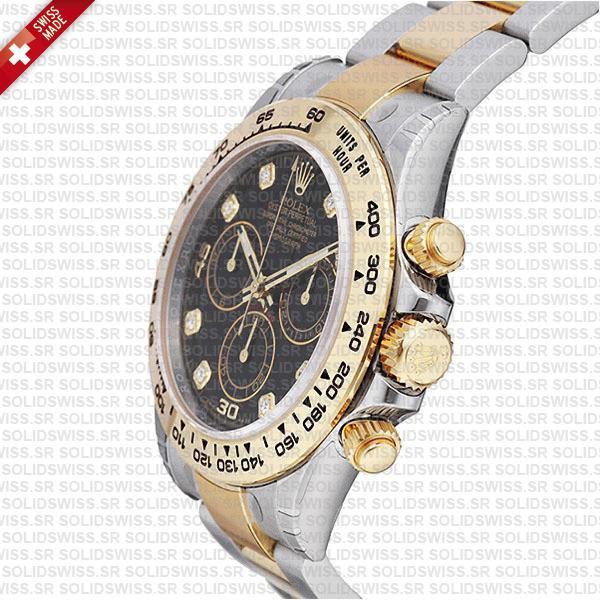 Rolex Daytona Two-Tone Black Diamond Dial Watch