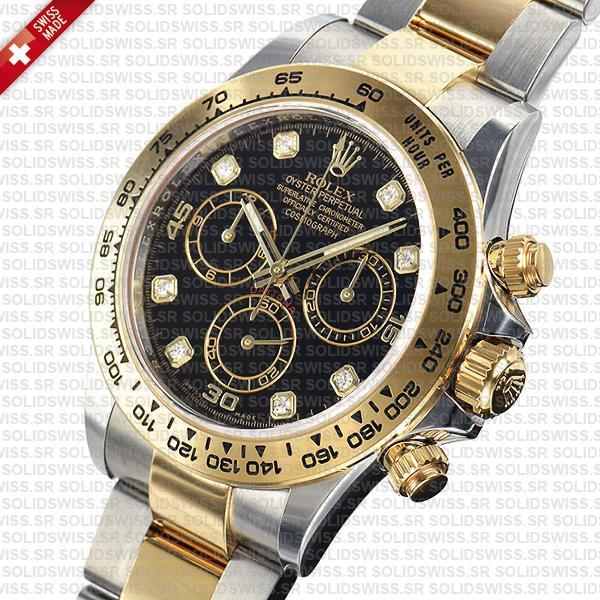 Rolex Daytona Two-Tone Black Diamond Dial 40mm Swiss Replica Watch