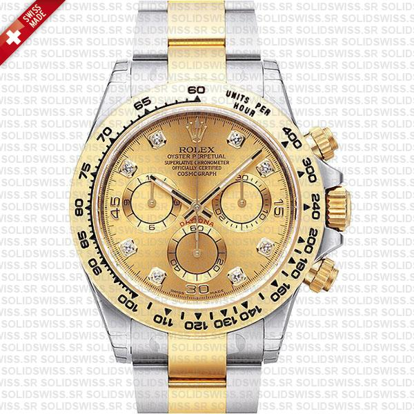 Rolex Daytona Two Tone Gold Diamond Dial Replica | Solidswiss