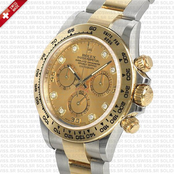 Rolex Daytona Two Tone Gold Diamond Dial Replica Watch