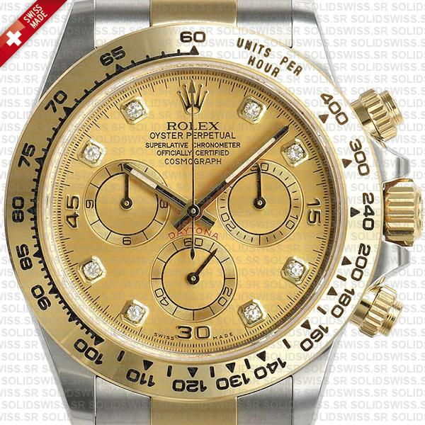 eplica Rolex Cosmograph Daytona Two-Tone 18k Yellow Gold Diamond Dial