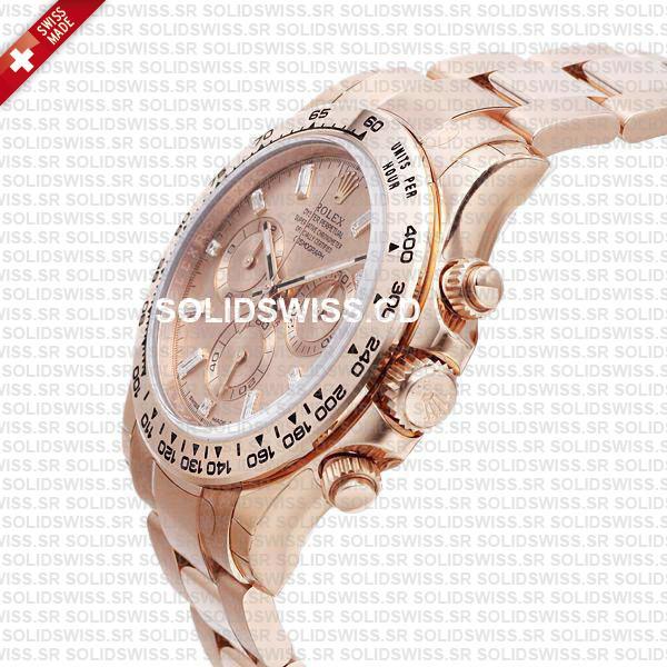 Rolex Daytona 18k Rose Gold Pink Diamond Dial 40mm