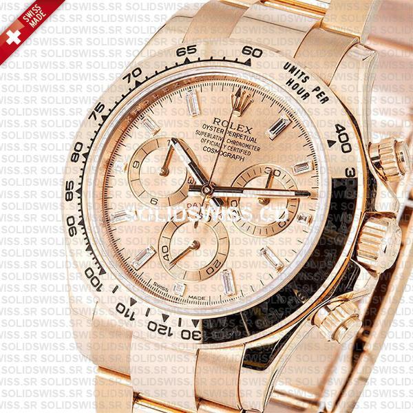 Rolex Daytona 18k Rose Gold Pink Diamond Dial