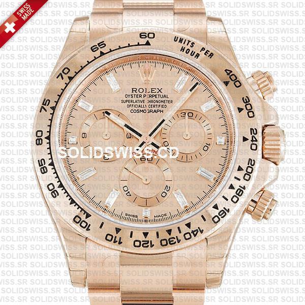 Rolex Daytona 18k Rose Gold Pink Diamond Dial with subdials