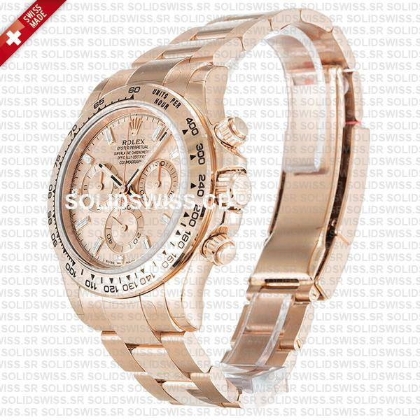 Rolex Cosmograph Daytona 18k Rose Gold Pink Diamond Dial