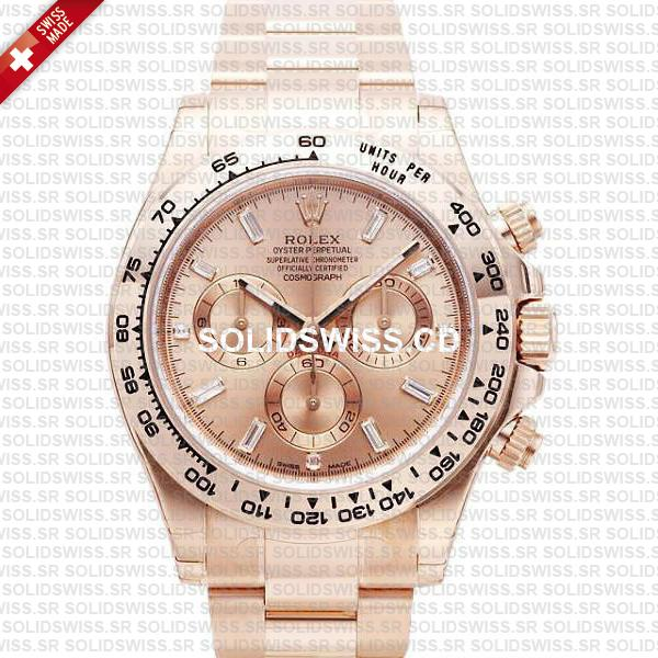 Rolex Daytona 18k Rose Gold Pink Diamond Dial 40mm Watch