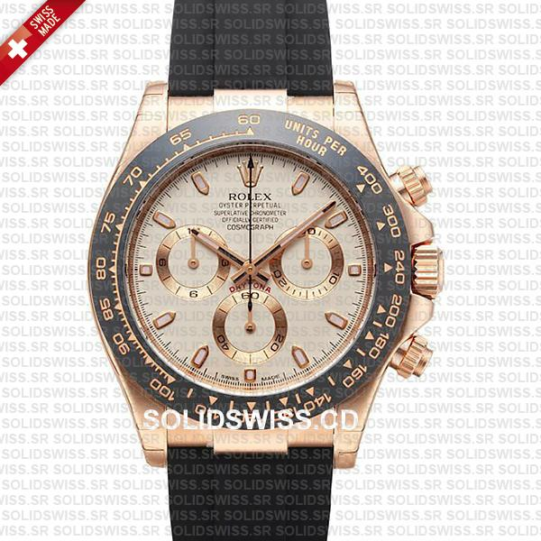 Rolex Cosmograph Daytona Rubber 18k Rose Gold Ivory Dial 40mm 116515ln Swiss Made Replica Watch