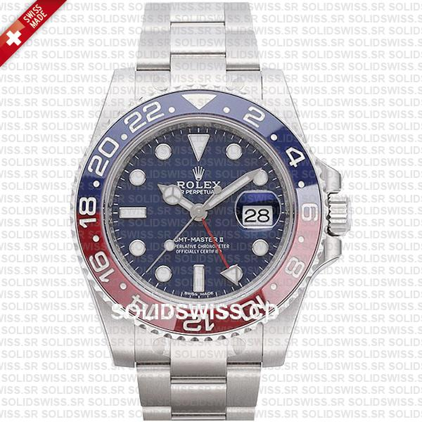Rolex GMT-Master II Pepsi Stainless Steel Red Blue Ceramic Bezel