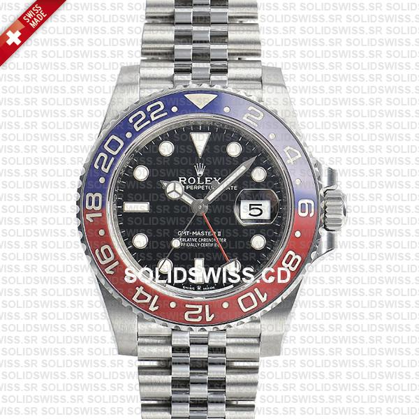 Rolex GMT,Master II Pepsi Red,Blue Ceramic Bezel Black Dial Steel Jubilee  Bracelet 40mm
