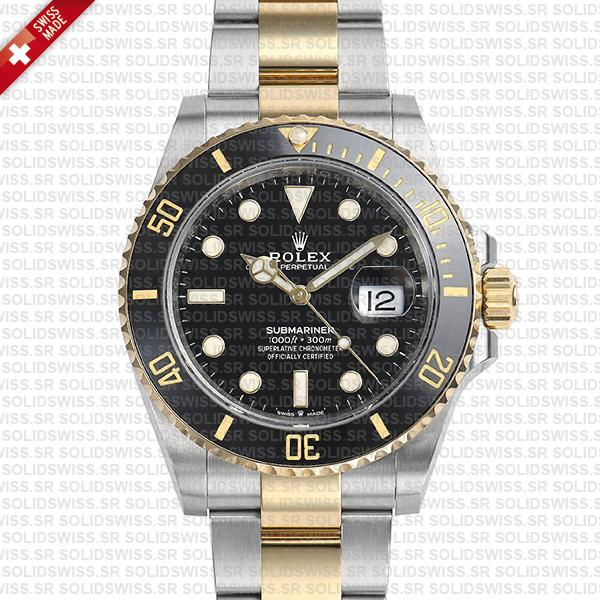 rolex submariner 41mm 2tone black ceramic swiss replica