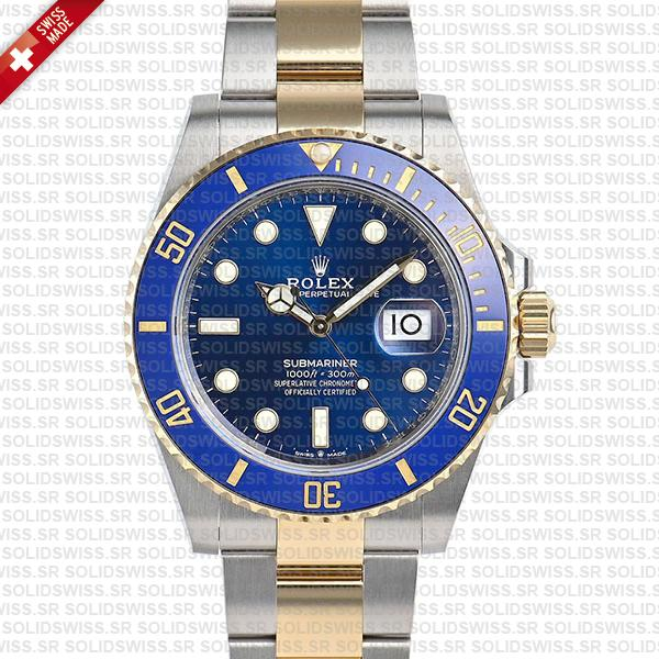 Rolex Submariner 41mm 2 Tone 18K Yellow Gold Wrap Blue Dial