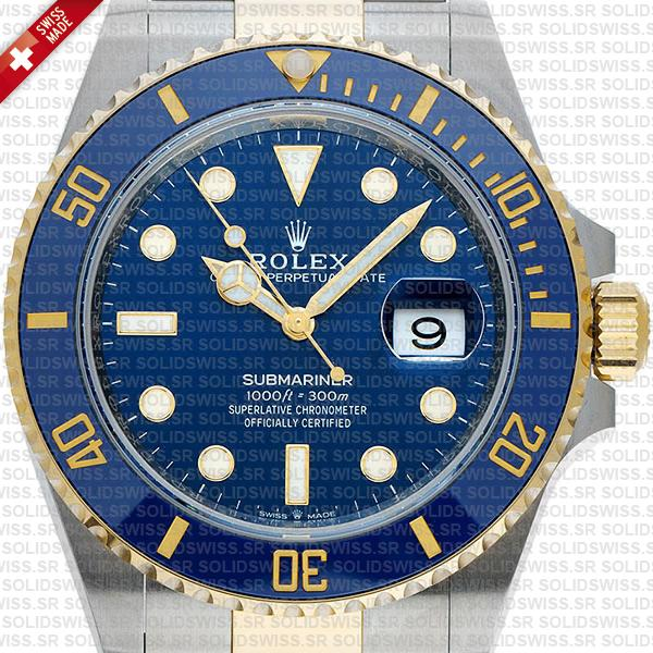Rolex Submariner 2 Tone Blue Dial Yellow Gold Replica Watch