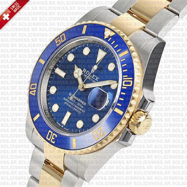 Rolex Submariner 2 Tone Blue Dial Yellow Gold Swiss Replica Watch