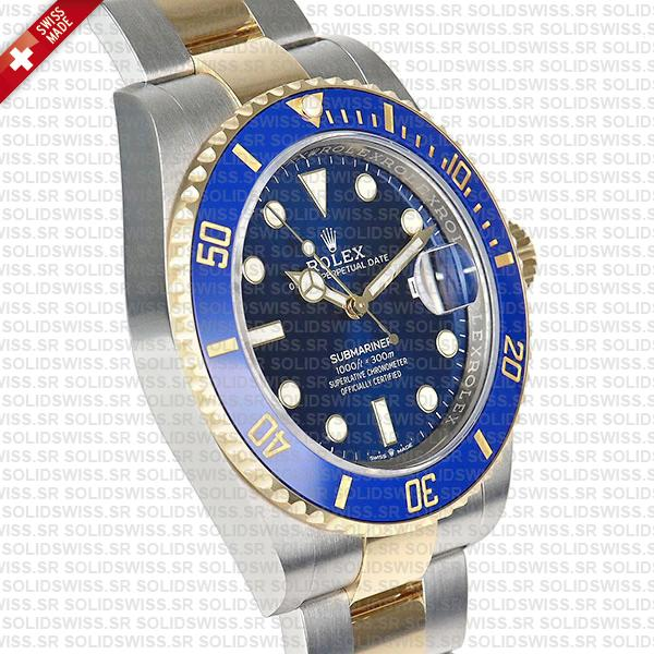 Rolex Submariner 2 Tone Blue Dial 18k Yellow Gold Replica Watch
