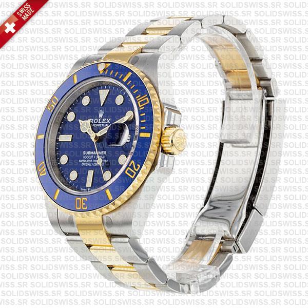 Rolex Submariner 2 Tone Yellow Gold, 904L Steel Blue Diamond Dial