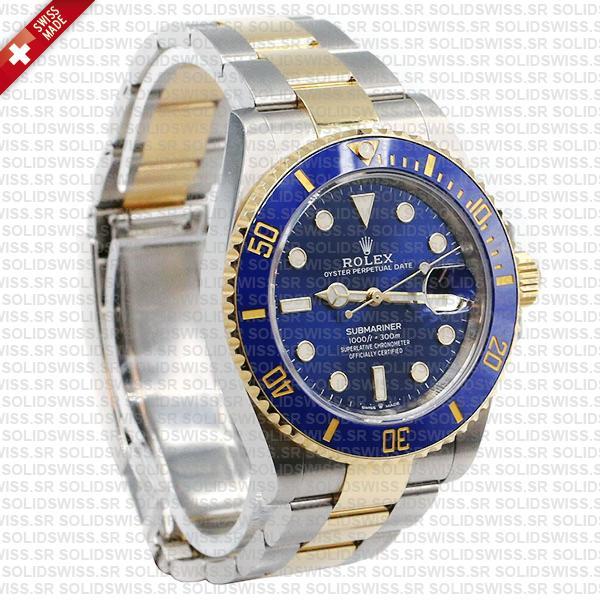 Rolex Submariner 2 Tone 18k Yellow Gold, 904L Steel Blue Diamond Dial Replica Watch