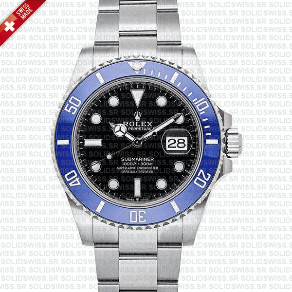 Rolex Submariner 41mm 904L Steel 18K White Gold Wrap Black Dial Blue Bezel