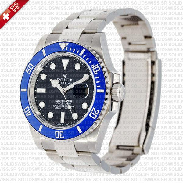 Rolex Submariner 41mm 904L Steel 18K White Gold Wrap