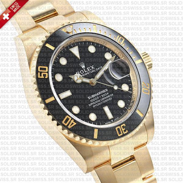 Rolex Submariner 41mm 18k Yellow Gold Wrapped 904l Steel Black Dial Ceramic Bezel 126618ln Swiss Replica Watch