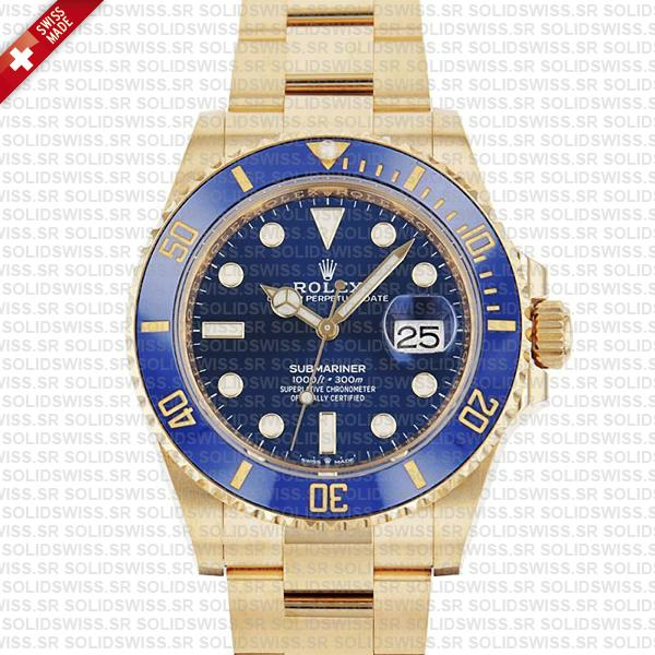 Rolex Submariner 41mm 18k Yellow Gold 904l Steel Wrap Blue Dial Ceramic Bezel 126618lb Swiss Replica Watch