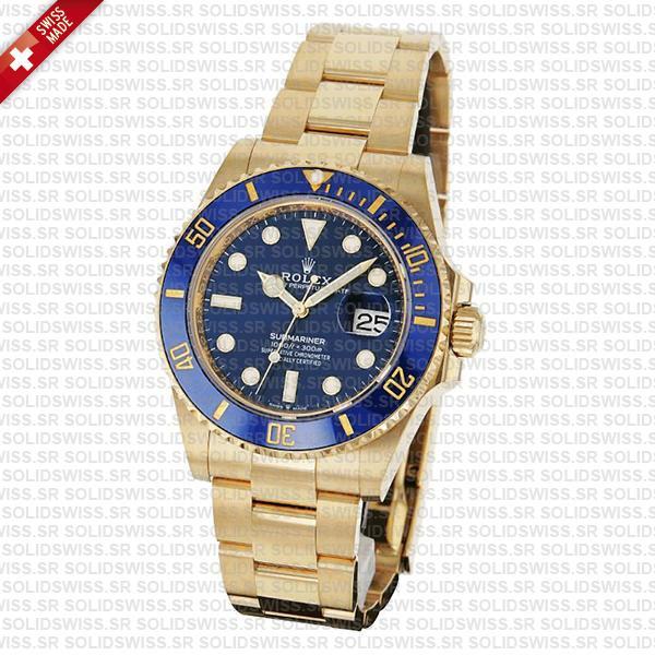 Rolex Submariner 41mm 18k Yellow Gold 904l Steel Wrap Blue Dial Ceramic Bezel 126618lb Swiss Replica Watch