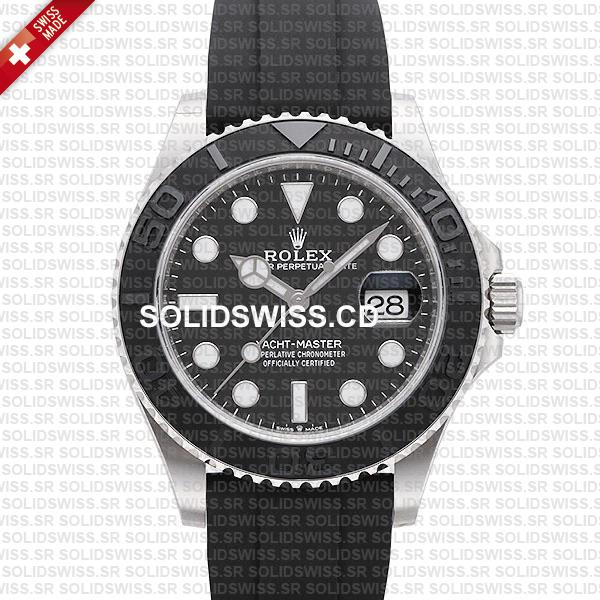 Rolex Yacht-Master White Gold Black Dial Rubber Strap Watch