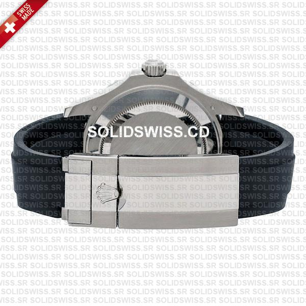 Rolex Yacht-Master White Gold Black Dial Rubber Strap