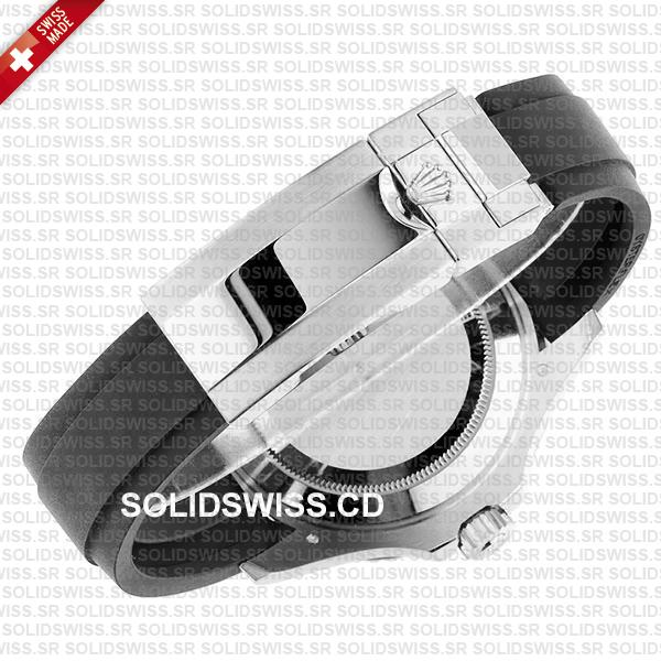 Rolex Yacht-Master White Gold Black Dial Rubber Strap Swiss Made Replica Watch