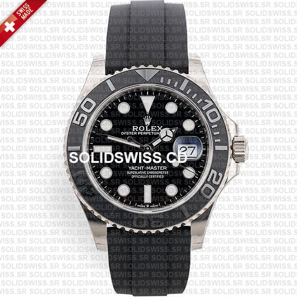 Rolex Yacht-Master White Gold Black Dial Rubber Strap Replica Watch