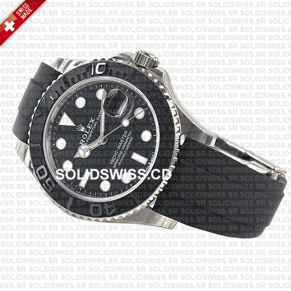 Rolex Yacht-Master White Gold Black Dial Rubber Strap 42mm