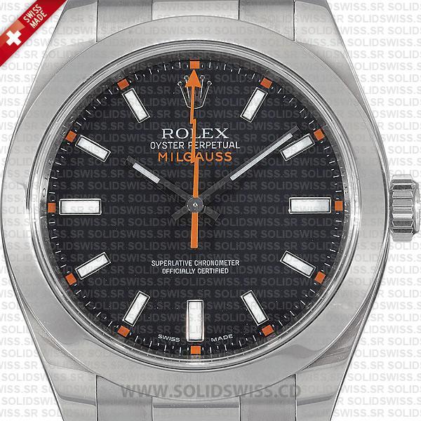 Rolex Milgauss Stainless Steel Black Dial 40mm Replica Watch