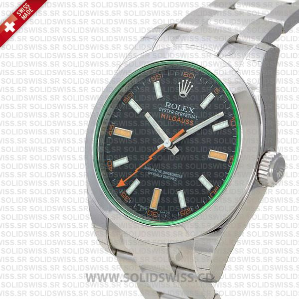 Rolex Milgauss 116400 Stainless Steel Green Watch