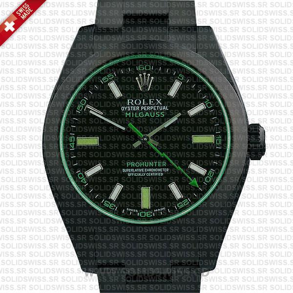 Rolex Milgauss Pro Hunter DLC Black Dial 40mm Replica Watch