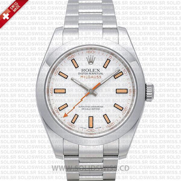 Rolex Milgauss Stainless Steel White Dial | Swiss Replica Watch