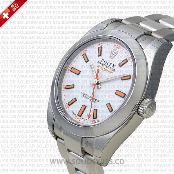 Rolex Milgauss Stainless Steel White Dial Swiss Replica Watch