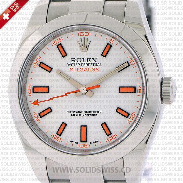 Rolex Milgauss Stainless Steel White Dial Swiss Replica