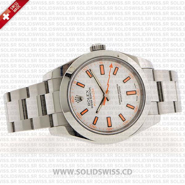 Rolex Milgauss Stainless Steel White Dial Watch