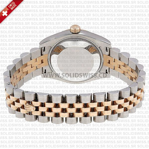 Rolex Datejust Lady 18k Rose Gold Two-Tone Stainless Steel Chocolate Roman Dial Jubilee Bracelet