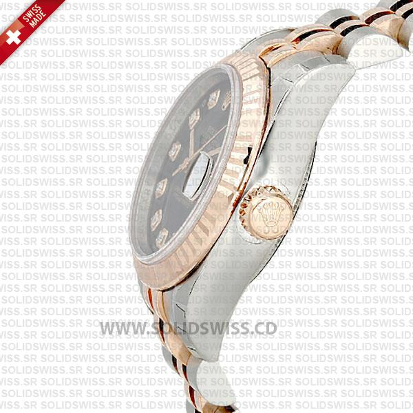 Rolex Datejust 31mm Jubilee Black Diamonds 18k Rose Gold 2-Tone Swiss Replica