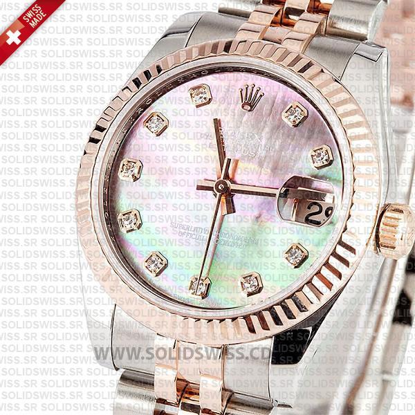 Rolex Datejust 31mm Jubilee Black Mother Of Pearl Diamonds 18k Rose Gold 2-Tone Swiss Replica