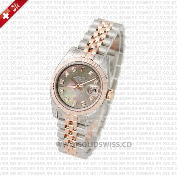 Rolex Datejust 31mm Jubilee Black Mother Of Pearl Diamonds 18k Rose Gold 2-Tone Swiss Replica