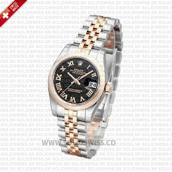 Rolex Datejust Two-Tone Rose Gold Black Roman Dial Watch
