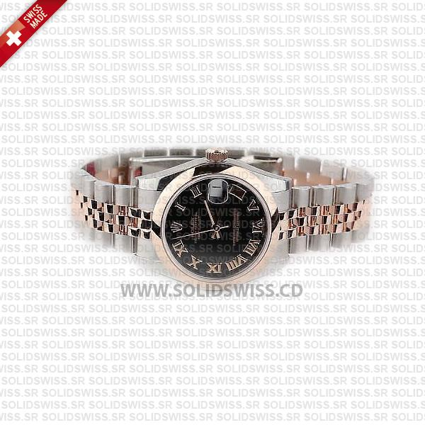 Rolex Datejust Lady Two-Tone Stainless Steel 31mm 18k Rose Gold Black Roman Dial