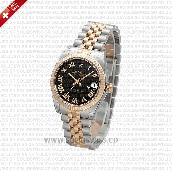 Rolex Datejust 31mm Two-Tone Black Face | Solidswiss Replica