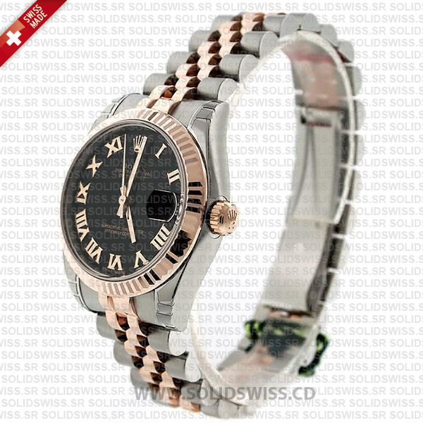 Rolex Datejust 31mm Jubilee Black Roman Fluted Bezel 18k Rose Gold 2-Tone Swiss Replica