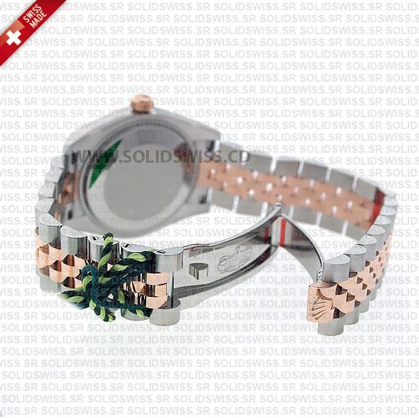 Rolex Datejust 31mm Jubilee Black Roman Fluted Bezel 18k Rose Gold 2-Tone Swiss Replica