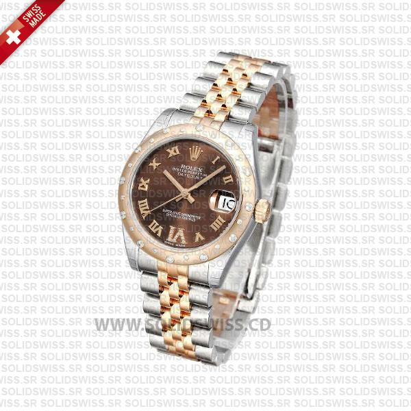 Rolex Datejust 31mm Jubilee Chocolate Diamond 18k Rose Gold 2-Tone Swiss Replica