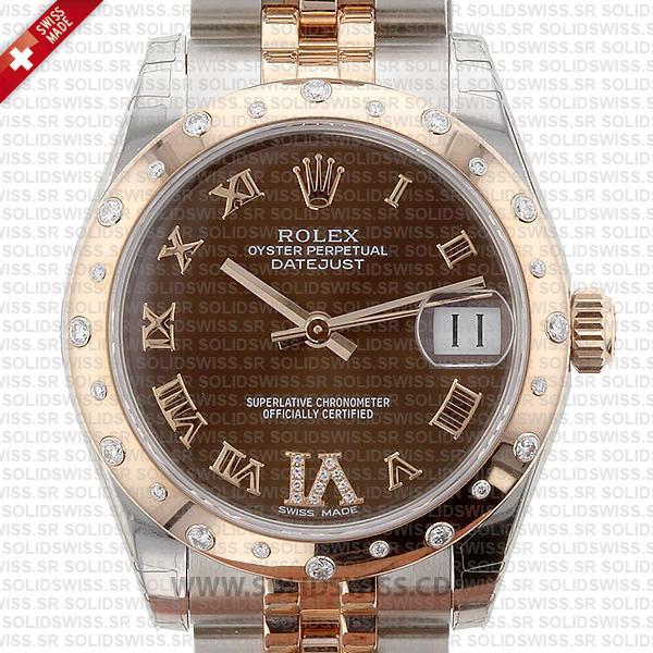 Rolex Datejust 31mm Oyster Chocolate Diamond 18k Rose Gold 2-Tone Swiss Replica