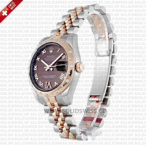 Rolex Lady-Datejust 31mm Two-Tone 18k Rose Gold Smooth Diamond Bezel Oyster Bracelet Swiss Replica Watch