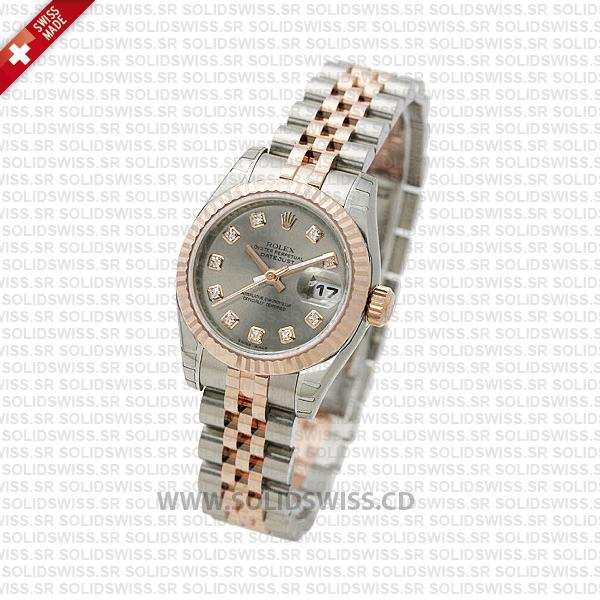 Rolex Datejust 31mm Jubilee Grey Diamonds 18k Rose Gold 2-Tone